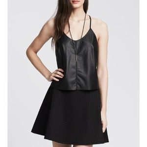 Banana Republic Faux Leather-Front Cami Black Tank